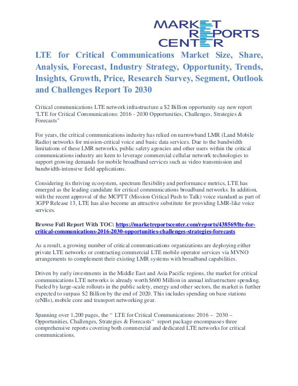 LTE for Critical Communications Market Size, Analysis & Share To 2030 LTE for Critical Communications Market