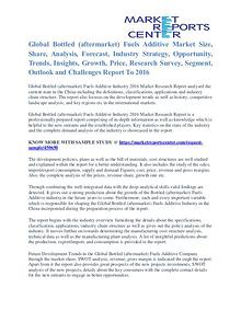 Bottled (Aftermarket) Fuels Additive Market Opportunities To 2016