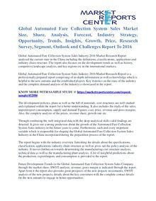 Automated Fare Collection System Market Segmentation Trends To 2016