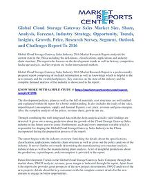 Cloud Storage Gateway Sales Market Cost and Revenue Report To 2016