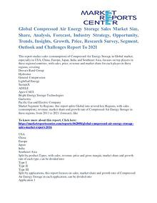 Compressed Air Energy Storage Sales Market Price and Growth To 2021