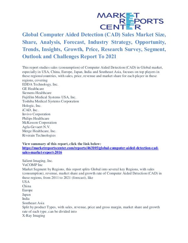 Computer Aided Detection (CAD) Sales Market Key Vendors & Trends 2021 Computer Aided Detection (CAD) Sales Market