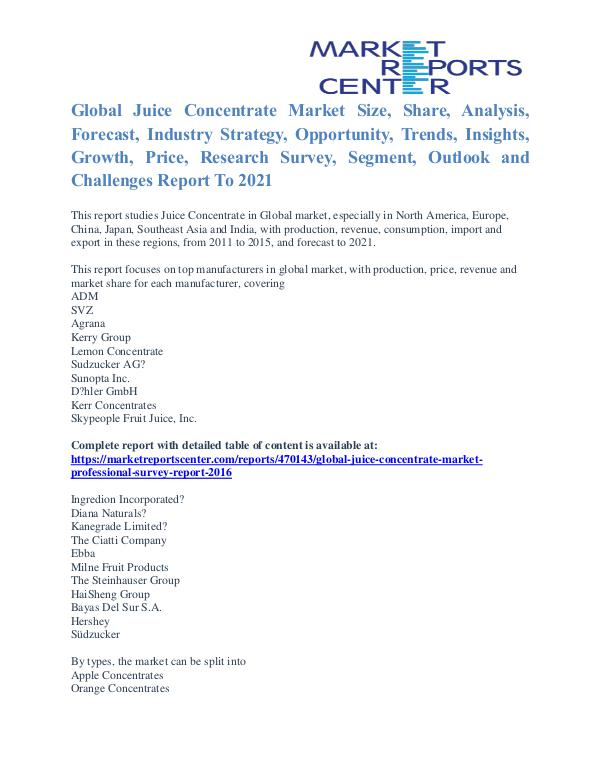 Juice Concentrate Market Key Vendors, Driver And Challenge To 2021 Juice Concentrate Market