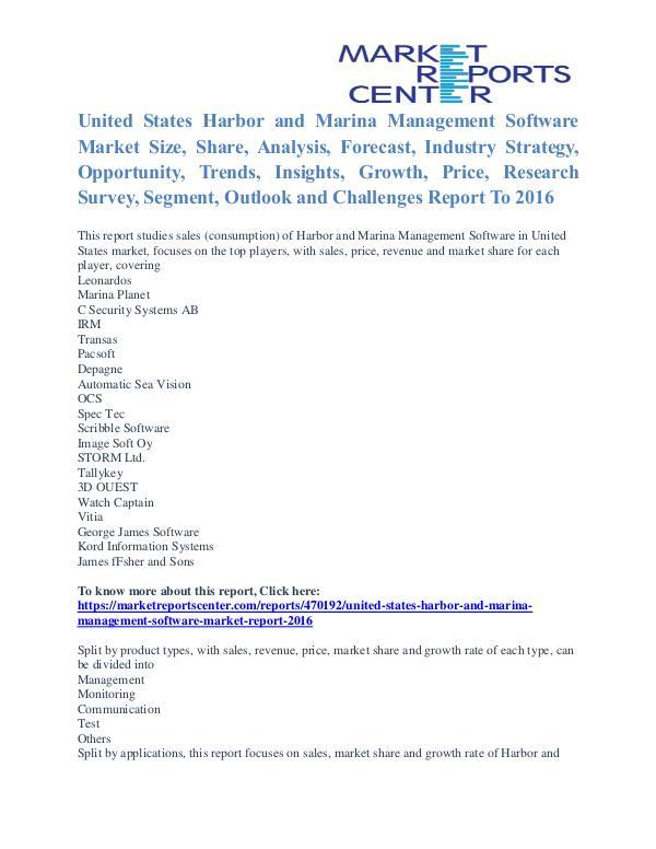 Harbor and Marina Management Software Market Segmentation To 2016 United States Harbor and Marina Management Softwar