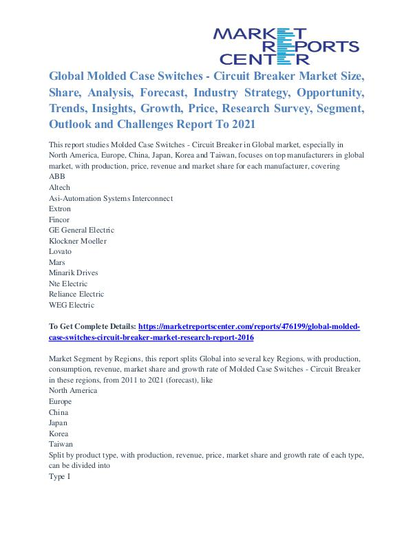 Molded Case Switches - Circuit Breaker Market Growth & Forecast 2021 Molded Case Switches - Circuit Breaker Market