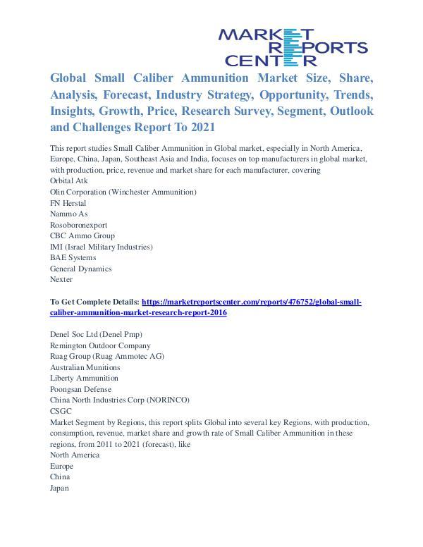 Small Caliber Ammunition Market Trends, Growth and Forecasts 2021 Small Caliber Ammunition Market