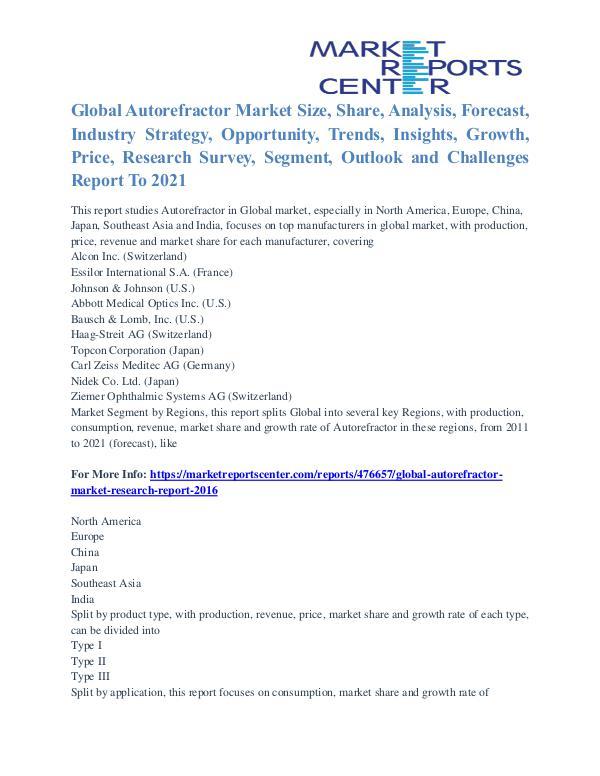 Autorefractor Market Analysis and Forecast to 2021 Autorefractor Market