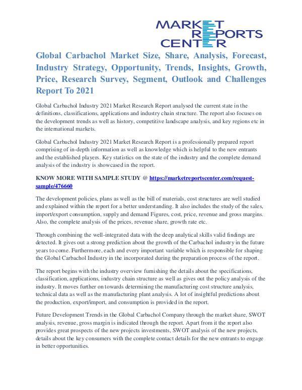 Carbachol Market Segmentation and Growth Forecast To 2021 Carbachol Market