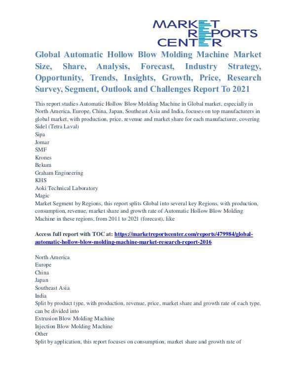 Automatic Hollow Blow Molding Machine Market Trends, Analysis To 2021 Automatic Hollow Blow Molding Machine Market