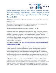 Resonators Market Segmentation and Major Players Analysis To 2021