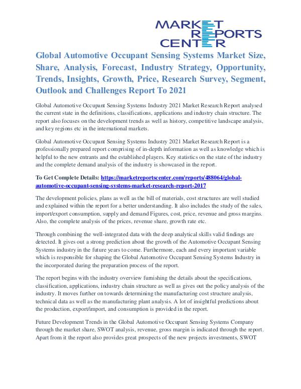 Activated Aspartate Aminotransferase Market Business Outlook To 2021 Automotive Occupant Sensing Systems Market