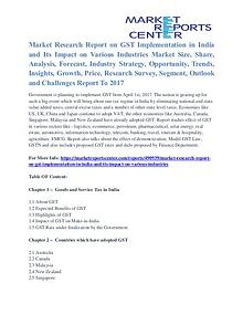 Recent Study - GST Implementation in India and Its Impact on Various