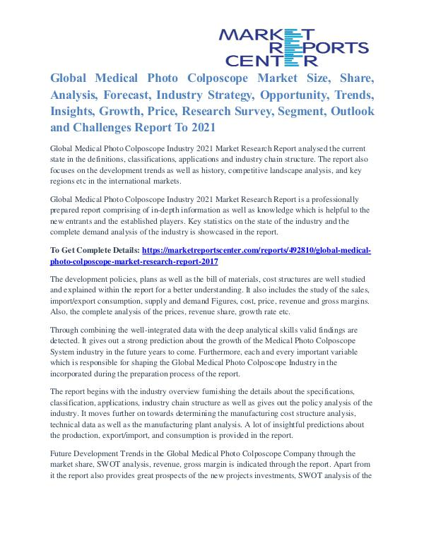 Medical Photo Colposcope Market Key Vendors, Driver, Challenge 2021 Medical Photo Colposcope Market