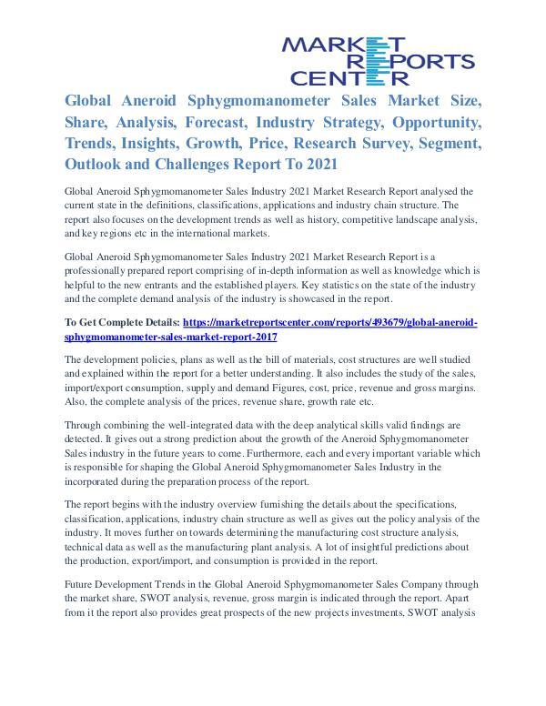 Aneroid Sphygmomanometer Sales Market Growth Forecast To 2021 Aneroid Sphygmomanometer Sales Market