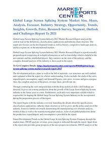 Large Screen Splicing System Market Segmentation and Growth To 2021