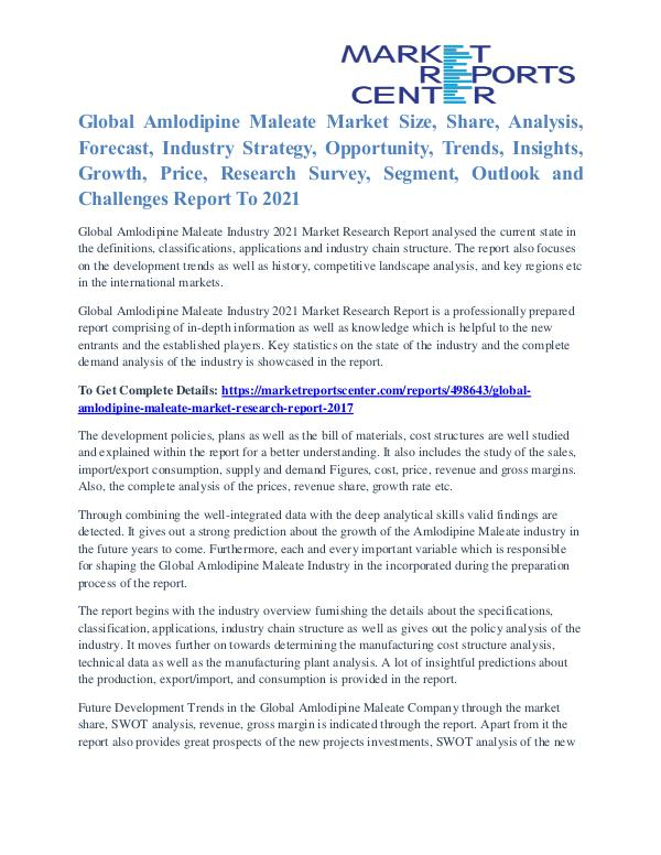 Amlodipine Maleate Market Trends And Quantitative analysis To 2021 Amlodipine Maleate Market