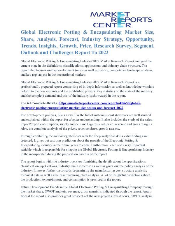 Electronic Potting & Encapsulating Market Analysis and Forecast 2022 Electronic Potting & Encapsulating Market