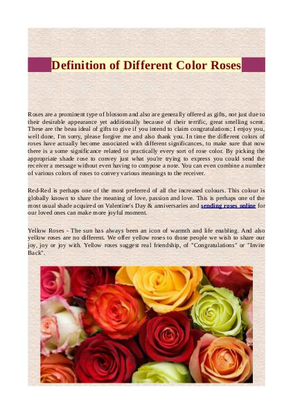 Definition of different color roses Definition of Different Color Roses