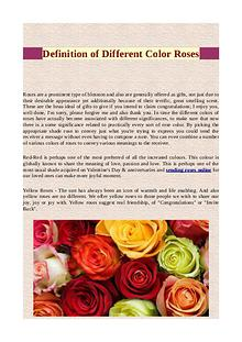 Definition of different color roses