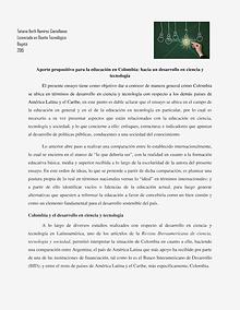 Aporte propositivo para la educación en Colombia, hacia un desarrollo en ciencia y tecnología