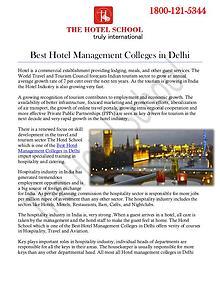 Best Hotel Management Colleges in Delhi