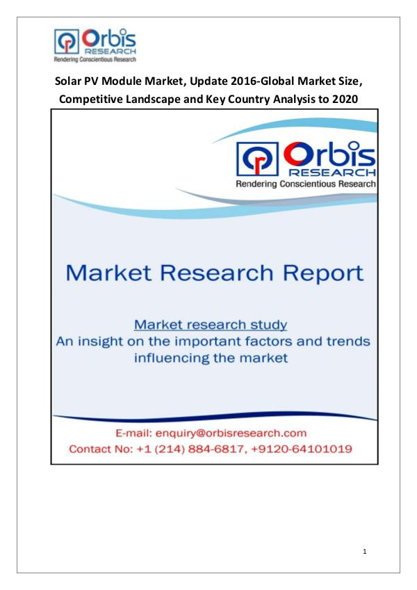 Industry Analysis 2016 Solar PV Module Market Forecast to 2020