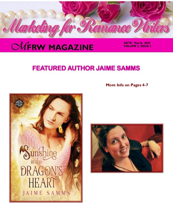 Marketing for Romance Writers Magazine March, 2020 Volume # 3, Issue # 3