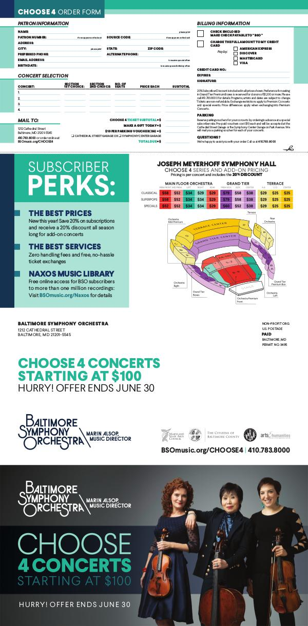 2017-2018 Season Brochure Choose 4 Concerts: Meyerhoff