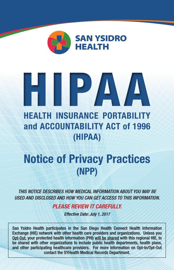 SYHealth HIPAA Notice of Privacy Practices ENG June 2020