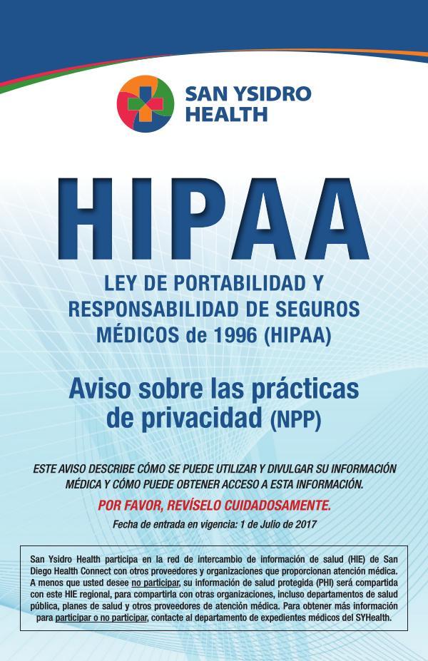 SYHealth HIPAA Notice of Privacy Practices SPANISH June 2020 - Spanish
