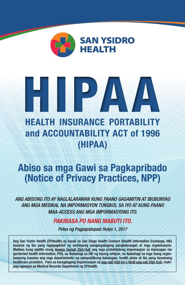 SYHealth HIPAA Notice of Privacy Practices TAGALOG June 2020 - Tagalog