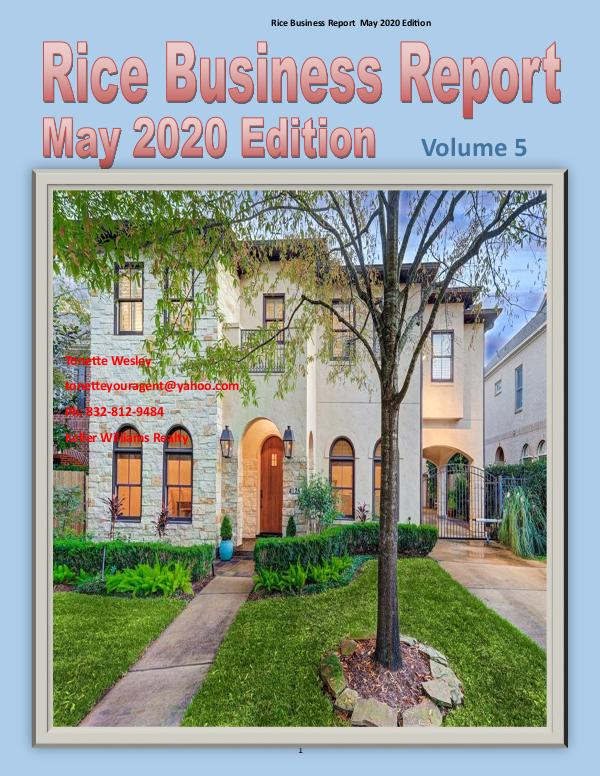 Rice Business Report May 2020 Edition May 2020 Rice Business Report