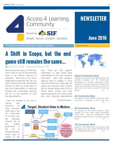 A4L Community Newsletter - June 2016 June 2016
