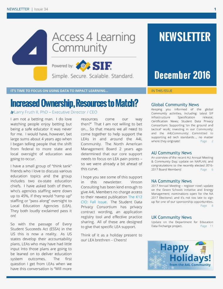 A4L Community Newsletter - December 2016 A4L Newsletter - December 2016
