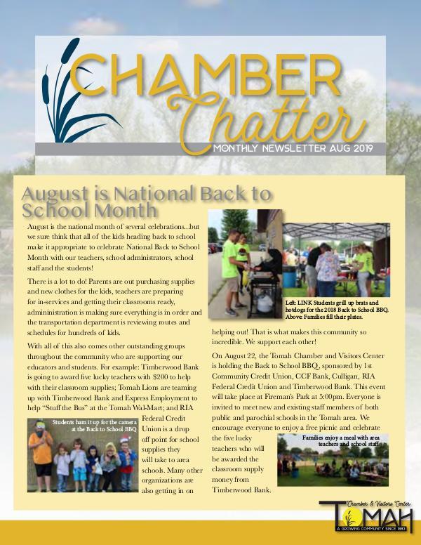 Tomah Chamber & Visitors Center Newsletter August Newsletter 2019