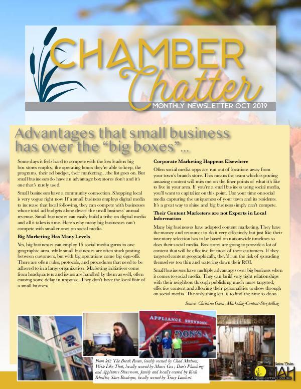 Tomah Chamber & Visitors Center Newsletter October 2019 Newsletter