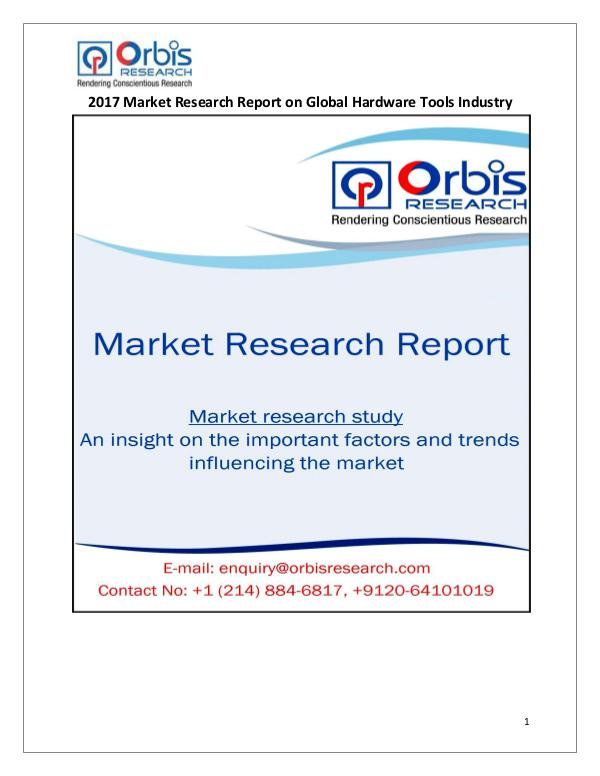 Machinery Market Research Reports 2017 Hardware Tools Industry