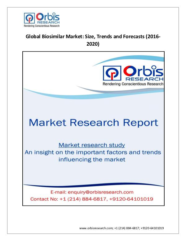 Market Research Report 2020 Global Biosimilar Industry  – Orbis Research