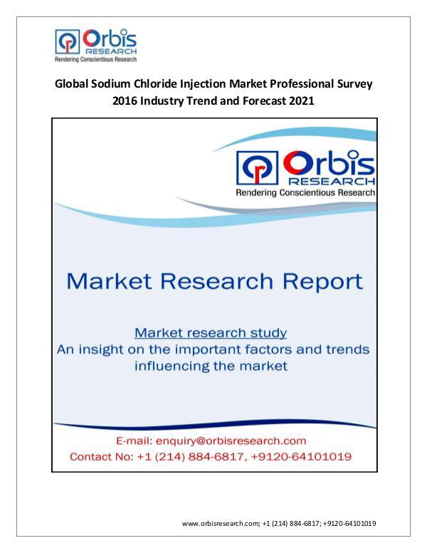 New Study: 2016 Global Sodium Chloride Injection M