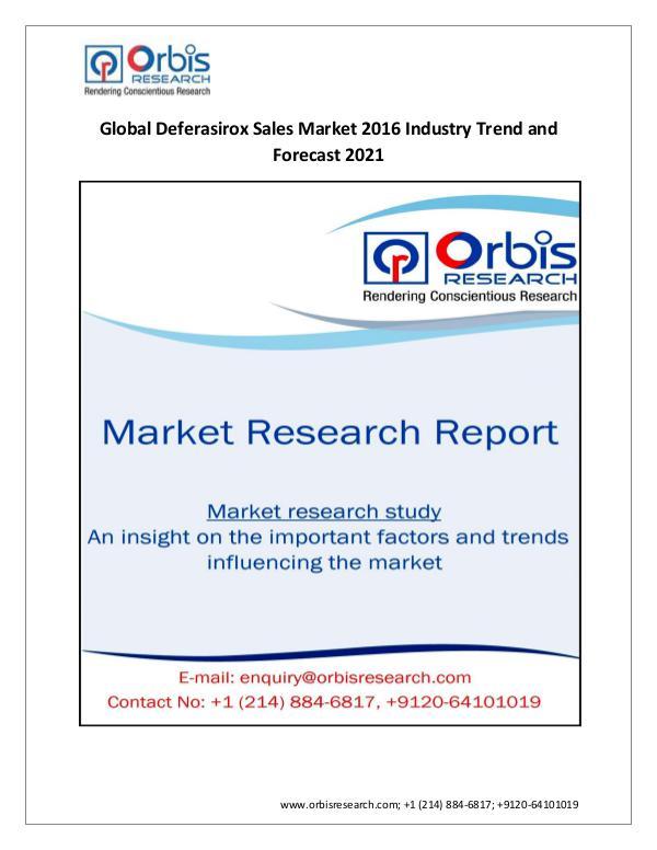 New Study: 2016 Global Deferasirox Sales  Market