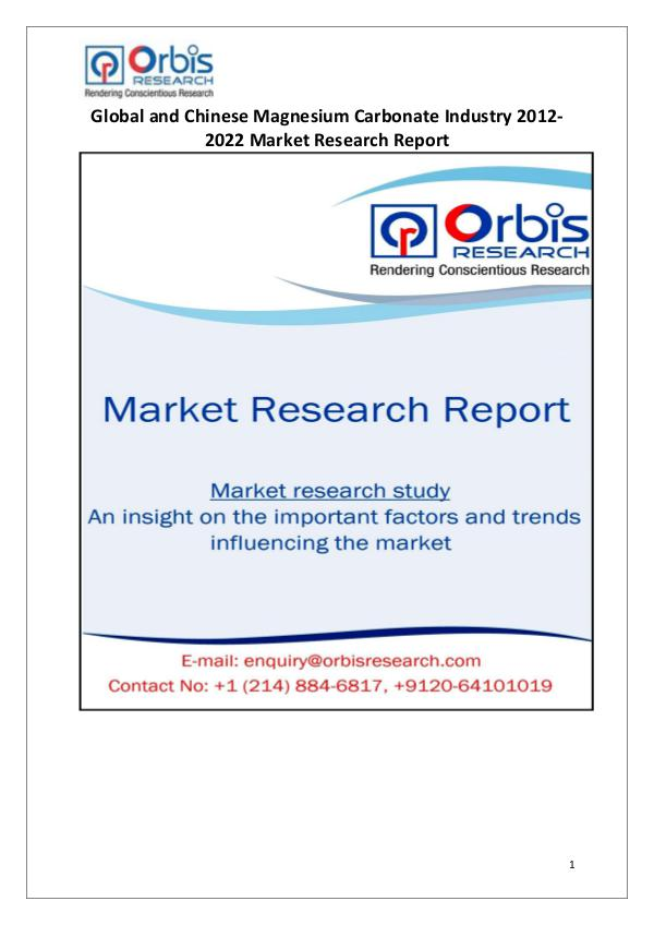 Industry Analysis Global & Chinese Magnesium Carbonate Market