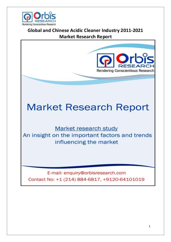 Industry Analysis 2016 Acidic Cleaner Market in China & Globally