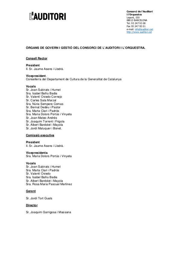 ÒRGANS DE GOVERN I GESTIÓ DEL CONSORCI DE L'AUDITORI I L'ORQUESTRA òrgans de govern i gestió a la web Auditori