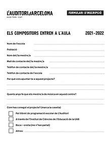 """Formulari inscripció """"Els compositors entren a l'aula"""""""