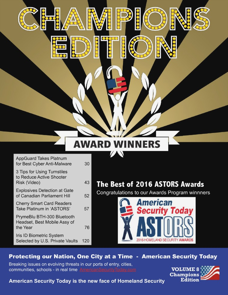 American Security Today's 2016 CHAMPIONS EDITION Digital Magazine AST 2016 CHAMPIONS EDITION