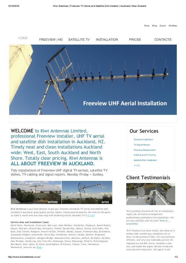 Kiwi Antennas Tidy installations of Freeview UHF digital TV aer