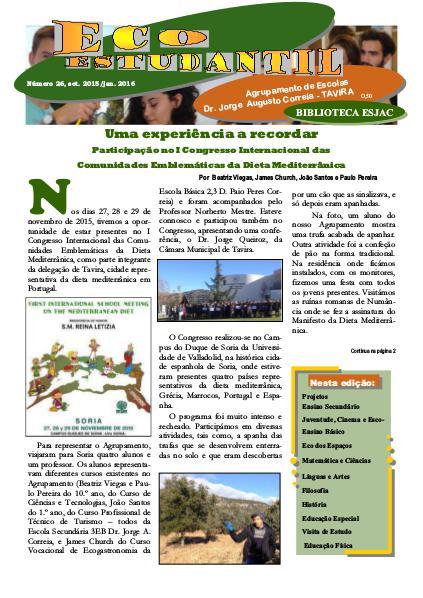 Jornal ECOESTUDANTIL jan. 2016 n.º 26