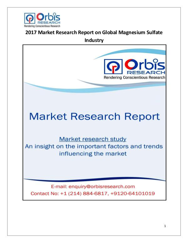 Magnesium Sulfate Industry-Global Market Demand 2017 Magnesium Sulfate Industry
