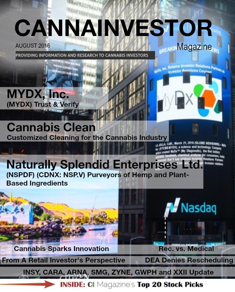 CANNAINVESTOR Magazine August 2016