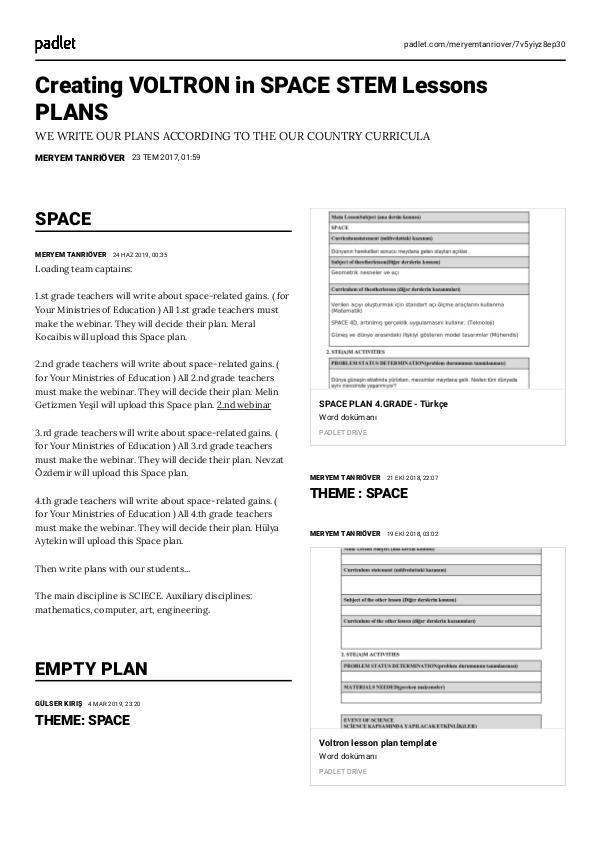 Creating VOLTRON in SPACE STEM Lessons PLANS space final
